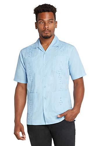 9 Crowns Men's Modern Fit Short Sleeve Guayabera Button Down Shirt