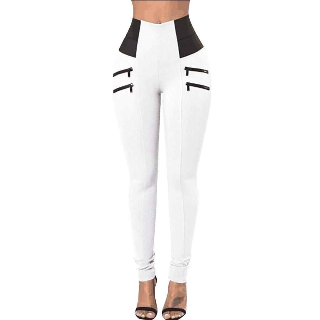 Womens Capri Leggings, Cropped Jumpsuits for Women,Womens Leggings Elastic Trousers Thin Zipper Solid Mid-Calf Plus Size Pants White