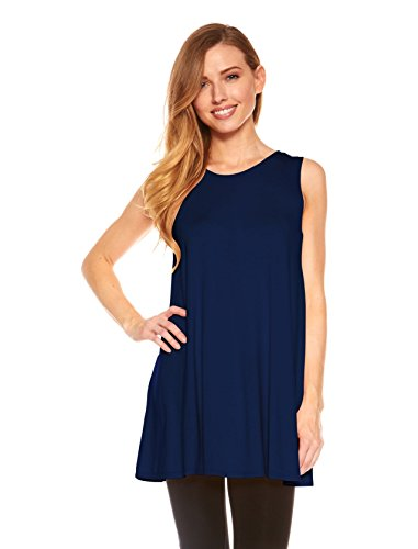 Womens Sleeveless A-Line Tank Top Tunic, Solid Basic Long Flowy Top (Navy-S)