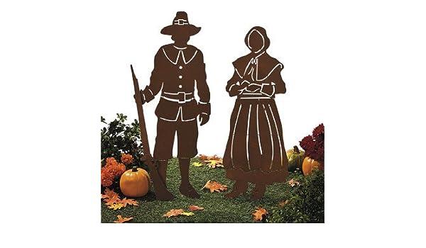 Metal Cut Out Pilgrims Shadow Yard Stakes Thanksgiving Yard