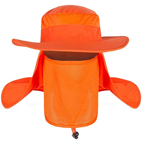 (Men Women Fishing Sun Hat with Neck Face Flap Mesh Boonie Hat Washed Safari Booney Sun Hats)