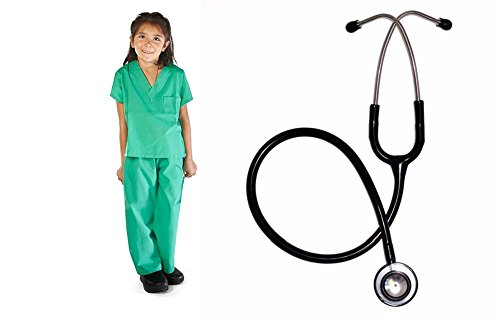 Super Soft Children Scrub Set with Black Stethoscope COMBO Kids Doctor Dress up (5/6, Surgical Green)