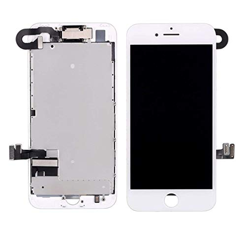 Screen Replacement for iPhone 7, LCD Display and Touch Screen Digitizer Replacement Full Assembly with Proximity Sensor, Ear Speaker, Front Camera, Screen Protector, Repair Tools (White,4.7 inch)