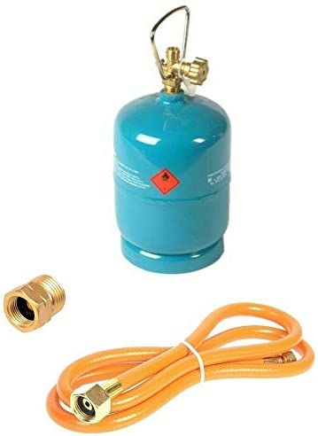 Botella de gas vacía rellenable, 1 kg/2,4 l, para camping, barbacoa, barco, propano, butano, gas + 1,5 m de manguera de relleno + adaptador