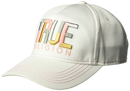 (True Religion Men's Geo Name Baseball Cap, White, OSFA)