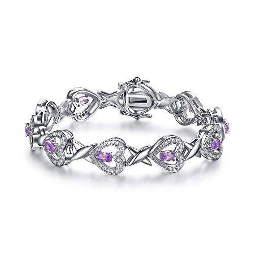 7' Bracelet Jewelry (FORUISTON Infinity Heart Mothers Day Gifts Jewelry Created Amethyst Bangle Bracelet for Women, 7'')