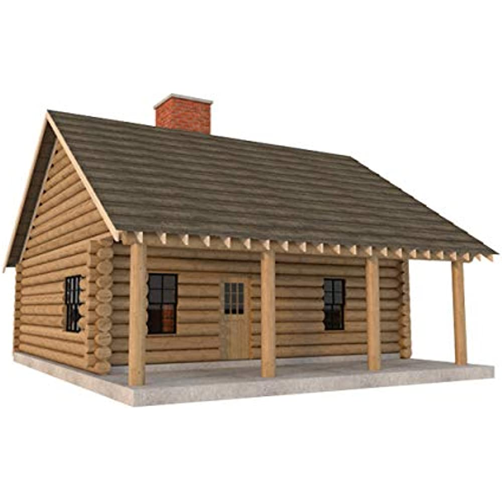 Log Cabin House Plans DIY 2 Bedroom Vacation Home 840 Sq ...