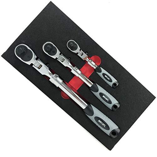 EZ RED MR482FL Silver 3 Piece Extendable Ratchet Set
