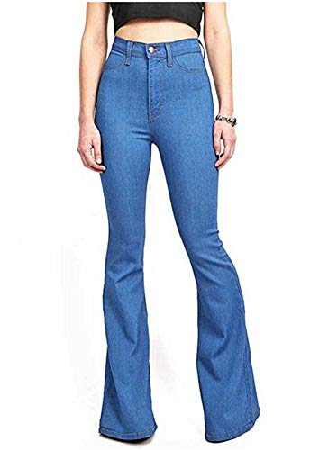 GUNLIRE Women's Juniors Blue Bell Bottom Flare Jeans High Waisted Slim Fitted Stretch Wide Leg Denim Pants