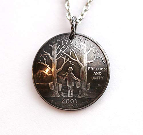 Vermont U.S. State Quarter Necklace Domed Coin Pendant 2001
