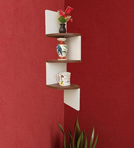 BM WOOD FURNITURE Wooden Wall Shelves | Corner Wall Shelf for Living and Bedroom Decor | Zigzag Shape | White