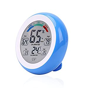 Digital LCD Touch Screen Hygrometer Thermometer - Standing Wall Hanging Magnet - ℃/℉ Switch,LOW/HIGH Records - Indoor Temperature Humidity Monitor [Batteries Not Included]