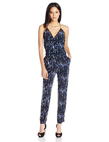 Silk Halter Jumpsuit - Dolce Vita Women's Washed Silk Shattered Ice Marine Halter Jumpsuit, Shattered Ice/Storm Navy, Small