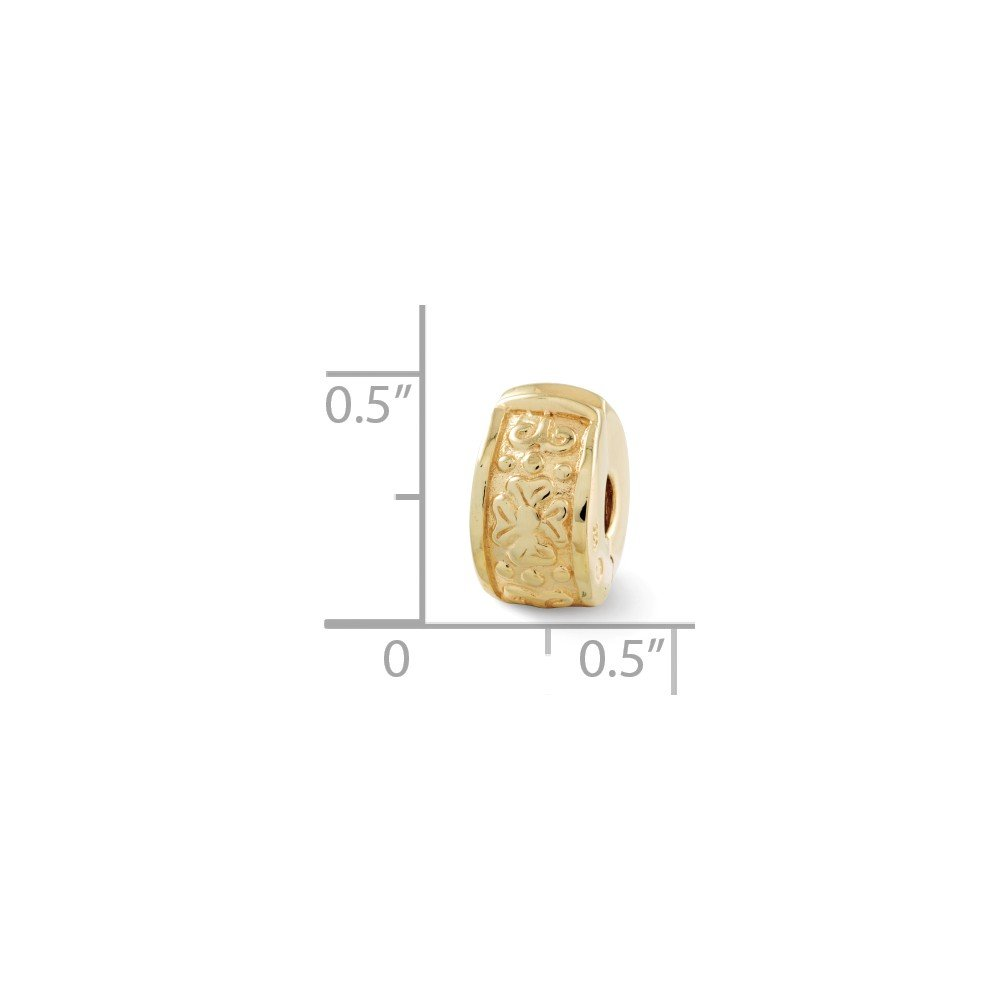14k Yellow Gold Plated Sterling Silver Floral Hinged Clip Bead Charm