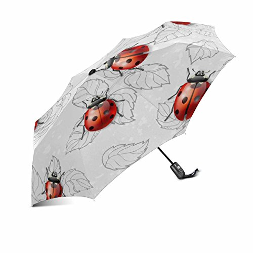 - colorful pattern with flowers and ladybugs travel umbrella automatic windproof foldable