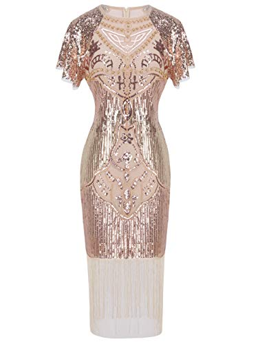 FAIRY COUPLE 1920s Knee Length Flapper Party Dress Layer Tassels Hem Sequined Cap Sleeve Cocktail(L,Rose Gold)