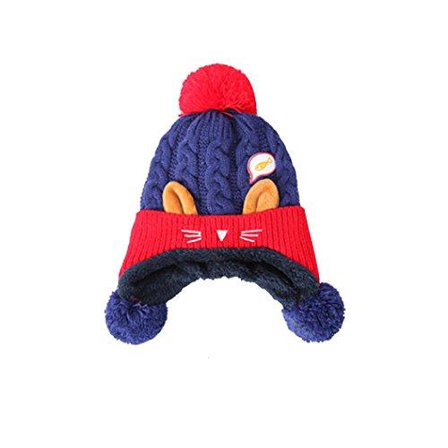 Bekleidung Hüte & Mützen Longra Jugendliche Baby Dual-Balls-Mädchen-Jungen-Katzen-Entwurf Strickwolle Halten Warm Beanie-Kappe (6 Monate-2 Jahre altes Kind für Kinder) (Blue)