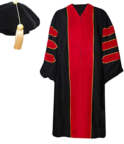 GradPlaza Unisex Deluxe Doctoral PHD Graduation Gown With Velvet And Tam 8 Sided