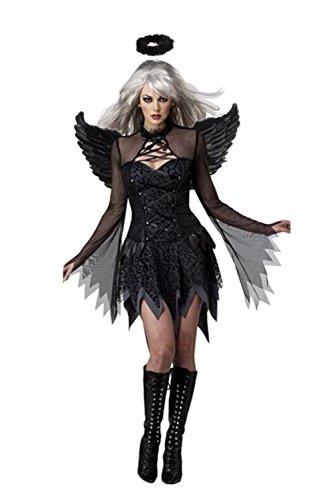 Women Sorceress Witch Cosplay Adult Fallen Angel Dress Custome For Halloween (Wing+Dress+Headwear) Black (Adult Halloween Custome)