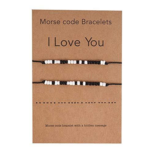 JEVI Friendship Bracelets Pinky Promise Distance Matching Bead Bracelet for Couple Boyfriend Girlfriend Women Men