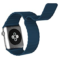 Apple Watch Band, JETech 42mm Genuine Leather Loop with Magnet Lock Strap Replacement Band for Apple Watch 42mm All Models No Buckle Needed (Blue) - 2181