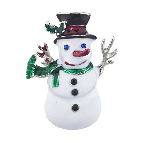 Lux Accessories Christmas X-mas Holiday Snowman Enamel and Silvertone Brooch