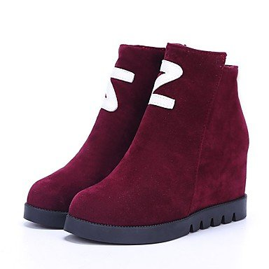 Rubber Gray Low Black Boots Round Shoes Burgundy US6 UK4 For Outdoor Fall EU36 CN36 Combat Women's Boots RTRY Heel Toe BE06xqwp