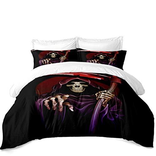 JARSON 5Pcs Grim Reaper Bedding Set Halloween Decor Duvet Cover Set Classic Cartoon Bedding King Size ()