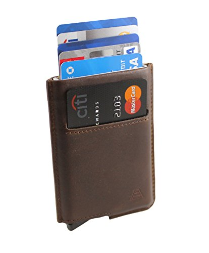 Andar Slim RFID Minimalist Card Case Full Grain Leather Wrapped - The Pilot (Dark Brown)