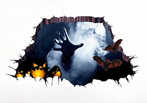 3D Halloween Wall Stickers Removable Home Floor Art Poster Kids Room Wallpaper Gifts (Palm (Cool Halloween Poster Ideas)