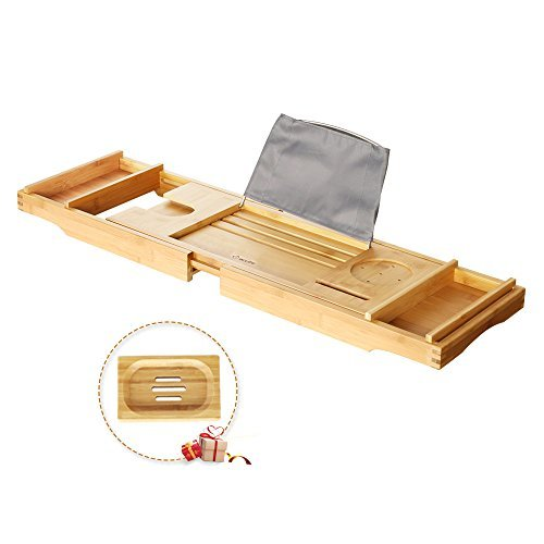 eclife Bamboo Bathtub Caddy Tray Natural Bamboo Frame Holder Free Soap Holder Integrated Tablet Luxury Spa with Folding Sides Natural Ecofriendly Wood, Smartphone Wine Holder Book Holder H01N by eclife (Image #3)