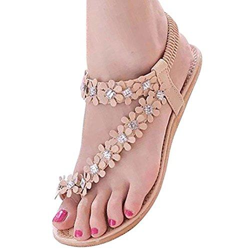 Donalworld Donna Fiore Bohemia Perline Scarpe Basse Flip-flop Sandali Dolci Crema