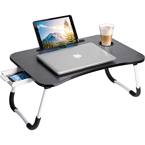 Lap Desk : Laptop Bed Tray Table - Lap Desk for Laptop and Writing, Foldable Lap Desk with Storage Drawer(Black)