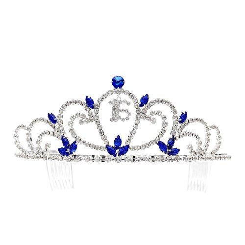 Birthday Party Rhinestone Crystal Tiara Crown - Sweet 16th Sixteenth Blue T1188]()