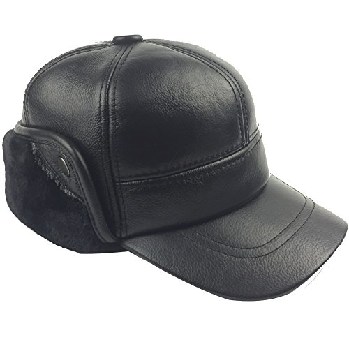 (Sandy Ting Winter Leather Baseball Cap Earflap Fitted Hats Men Soft Hunting Hat (Large, Black) )