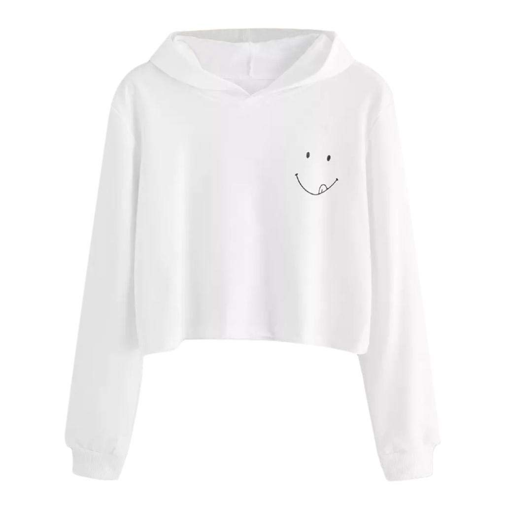 Womens Long Sleeve Hoodie Sweatshirt Hooded Pullover Compatible Autumn Winter Ladies Smile Tops Blouse