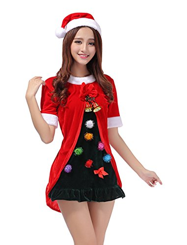 [YFFaye Women's Red Christmas Tree Role-Playing Christmas Performance Suits] (Abba Jumpsuit Costume)