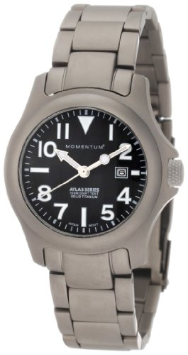 Momentum Women's 1M-SP01B0 Atlas Black Dial Titanium Bracelet Watch ()