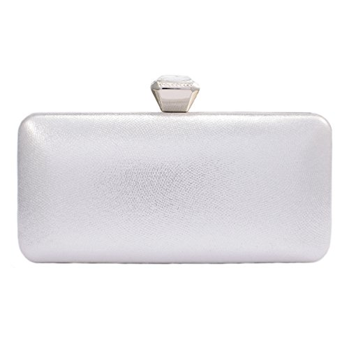 Clasp Clutch Darama Wedding Hardcase Silver Exquisite Bags Top Womens 1qTwZIR