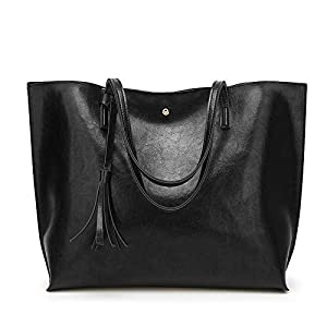 Generic Luxury Brand Women Shoulder Bag Soft Leather Top Handle Bags Ladies Tassel Large Tote Handbag Women's Handbags Color Black Size 36X30X11cm