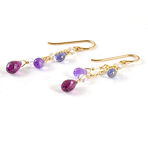 Multi Stone Briolette Earrings with Amethyst, Garnet, Iolite, and White Topaz in 14K Gold Filled