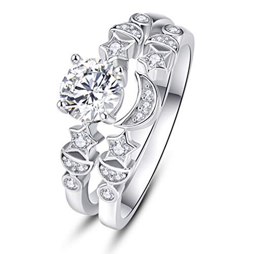 AVECON Women's Platinum Plating Sterling Silver Wedding Engagement Ring Band Set 1.25 Carat Round Brilliant Cubic Zirconia