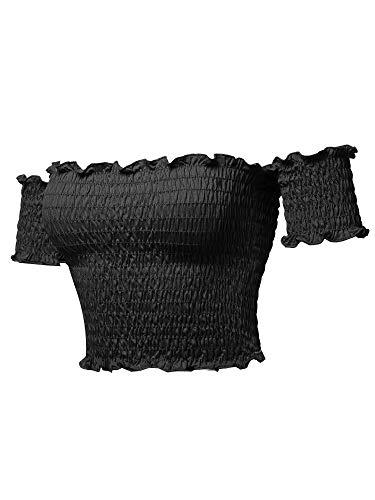 Sexy Off Shoulder Shirring Smocking Crop Top Black L