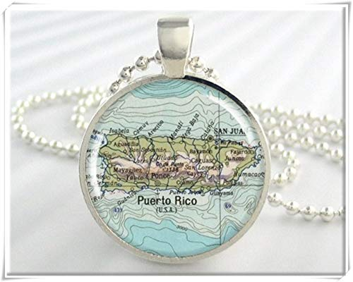 Puerto Rico Map Pendant,Map Necklace,Exquisite Jewelry, Dome Glass Jewelry, Handmade.