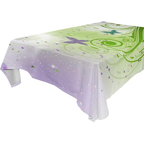 Table Cloth Butterfly Designs Rectangle/Oblong Polyester Tablecloth Washable Table Cover for Dinner Picnic, Buffet Table, Parties]()