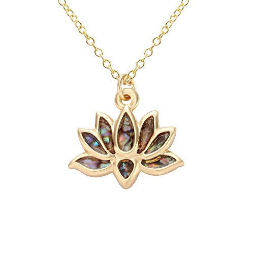 Design Pendant Lotus Flower (NOUMANDA Lotus Flower Metal Abalone Shell Necklace Pendants, Fashion Pendants (real gold plated))