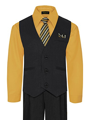 Boy's Vest and Pant Set, Includes Shirt, Tie and Hanky - Black/New Mustard, 10