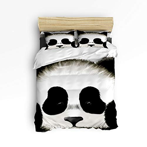 Hand Painted Set Bed (Clouday Queen Size Soft 4 Piece Duvet Cover Sets for Christmas,Lovely Panda Hand Painted Pattern Bear Black and White Bed Sheet Set,Include 1 Flat Sheet 1 Duvet Cover and 2 Pillow Cases)