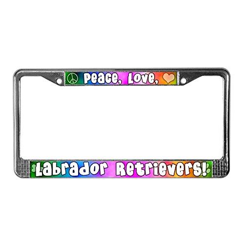 CafePress - Hippie Labrador Retriever License Plate Frame - Chrome License Plate Frame, License Tag - Decorative Labrador Retriever Accessories