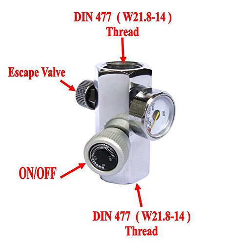 CO2 tank Fill Adapter Connector Female Thread W21.8 DIN 477 with ON/OFF by GFSP Outdoor Sports